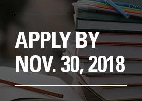 Apply By Nov. 30, 2018